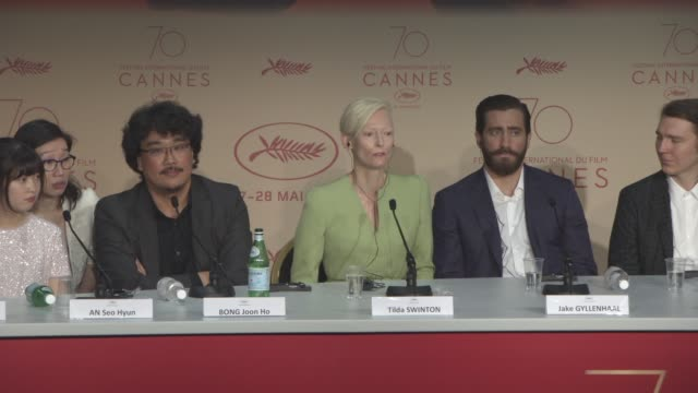 INTERVIEW Tilda Swinton Bong Joon Ho on films not being watched in the cinema at 'Okja' Press Conference at Palais des Festivals on May 19 2017 in...