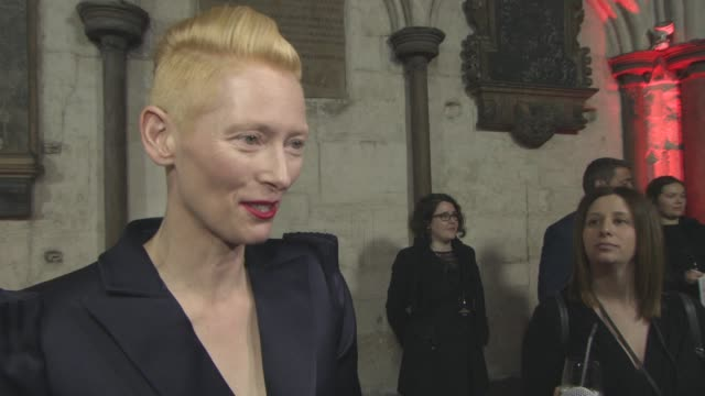 tilda swinton on her reactions to the reviews, working with green screen, working with benedict cumberbatch at 'doctor strange' uk premiere at... - benedict cumberbatch stock videos & royalty-free footage