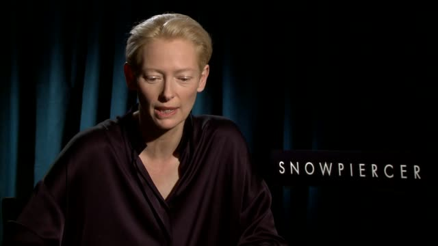 INTERVIEW Tilda Swinton on why it was important for her to have the look in this film on how they came up with it at 'Snowpiercer' Los Angeles Press...