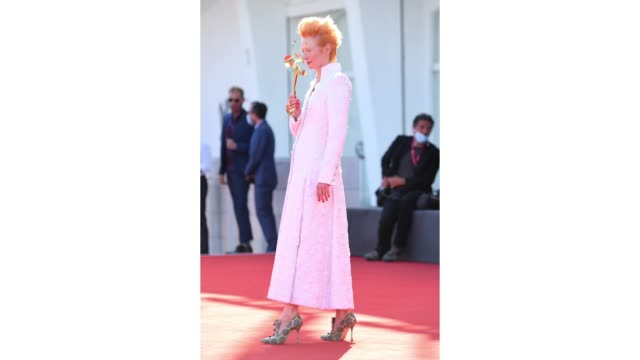 tilda swinton walks the red carpet ahead of the movie the human voice and quo vadis aida at the 77th venice film festival at on september 03 2020 in... - gif stock videos & royalty-free footage