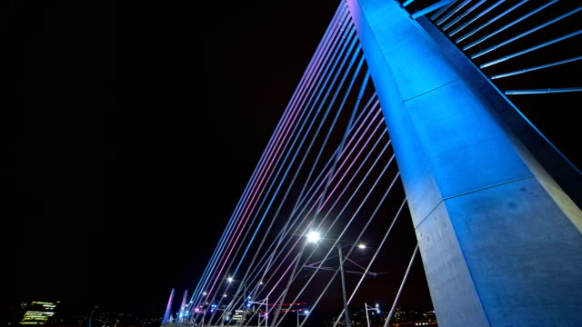 Tilikum Crossing Bridge Close Tilt Portland Oregon Night Time Lapse