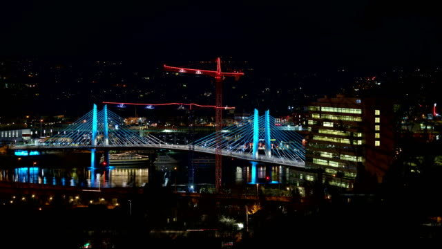 Tilikum Crossing Bridge Distant Portland Oregon Night Time Lapse