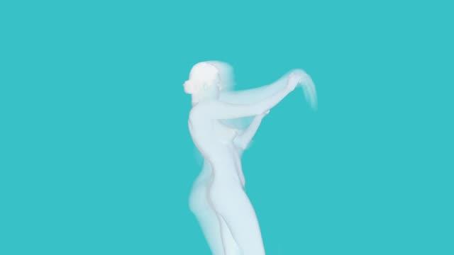 Silhouette der tanzende Frauen auf blauem Hintergrund mit Ziegeln zu decken