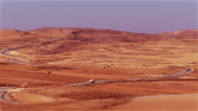 Til-shift: A miniaturized truck on the Kings Highway in Jordan, Middle East.