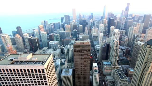 HD-Schwenk nach: Luftbild der Skyline von Chicago Stadtbild USA