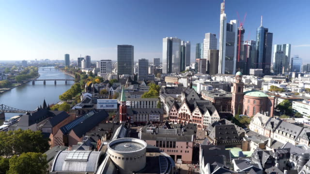 tilt aerial view: cityscape of frankfurt am main, germany - frankfurt main stock videos & royalty-free footage