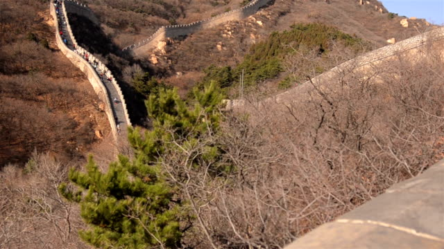 tilt: Badaling great wall of china on high slope mountain