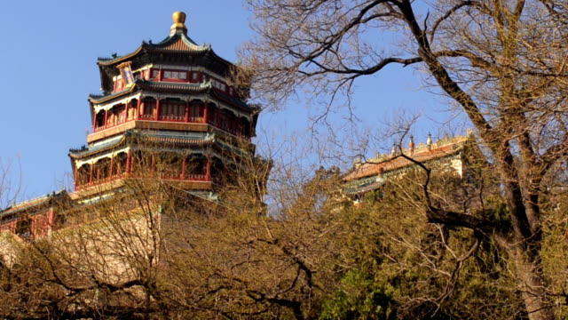 tilt: chinease styled tower in beijng summer palace - summer palace beijing stock videos & royalty-free footage