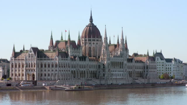 Tilt: Clear Blue Sky to the Hungarian Parliament Building on the Danube