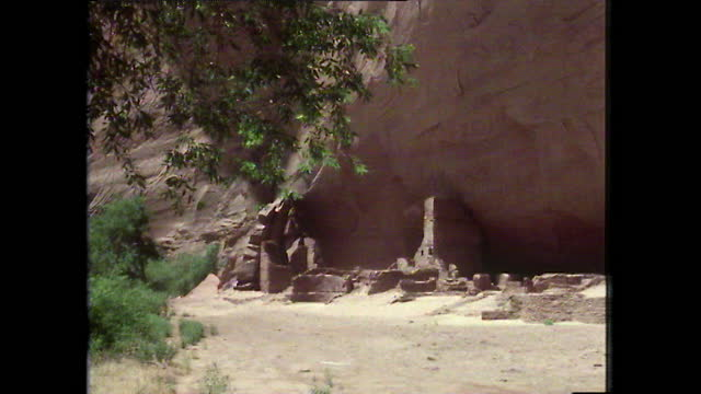 tilt down ancient anasazi ruins in canyon de chelly, arizona; 1979 - anasazi culture stock videos & royalty-free footage