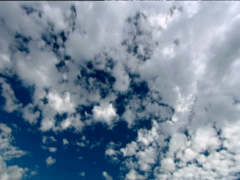Tilt down and pan right from alto cumulus cloud in blue sky to Table Mountain with layer of cloud resting on top waves lap onto beach in foreground