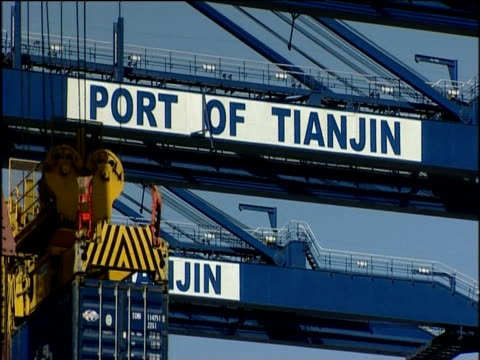 tilt down as huge sea container is lowered by crane tianjin port china; 2005 - 2000s style stock videos & royalty-free footage