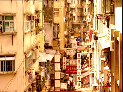 tilt down between buildings to street with chinese script signs and pedestrians hong kong - chinese script stock videos & royalty-free footage