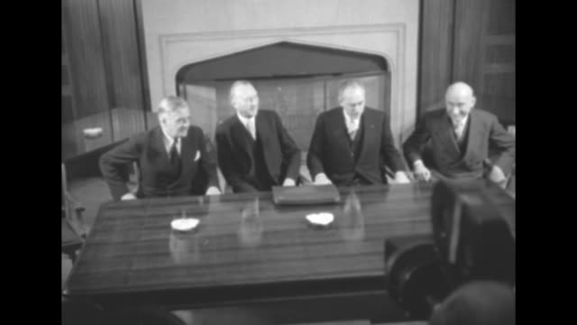 british foreign minister anthony eden federal republic of germany chancellor konrad adenauer us secretary of state dean acheson french foreign... - ブロックする点の映像素材/bロール