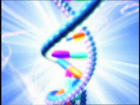 tilt down dna double helixes / zoom out hands holding petri dish - psychedelic stock-videos und b-roll-filmmaterial