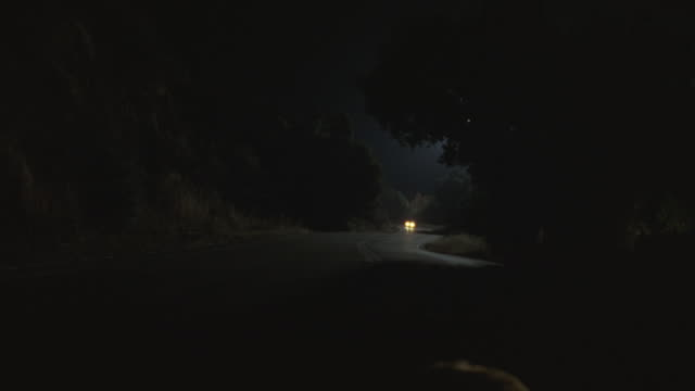 tilt down from a car driving on a winding road to a raccoon eating a road kill in the middle of highway. - headlight stock videos & royalty-free footage