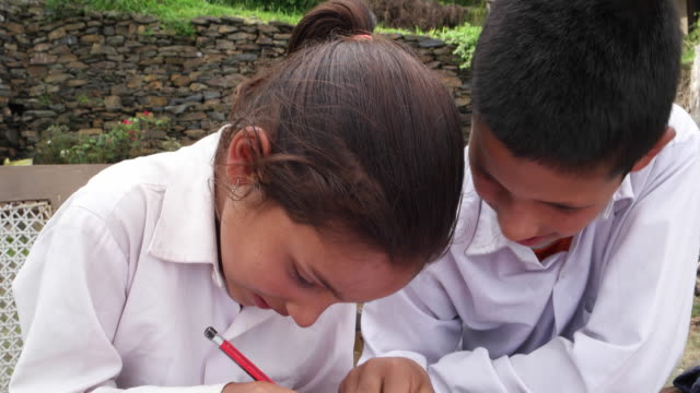tilt down from a green village to a close up of siblings helping each other with home work - pencil sharpener stock videos & royalty-free footage