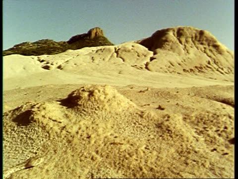 stockvideo's en b-roll-footage met ms tilt down from desert landscape to  rattlesnake slithering over sand, usa - vachtpatroon