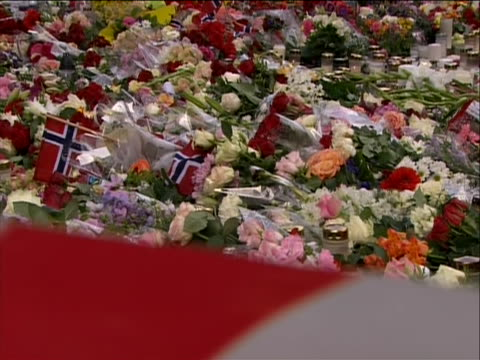 stockvideo's en b-roll-footage met tilt down from group of people to a makeshift memorial for the norway attack victims on july 22 a pair of terrorist attacks took place in norway the... - (war or terrorism or election or government or illness or news event or speech or politics or politician or conflict or military or extreme weather or business or economy) and not usa