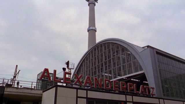 tilt down from Television Tower to Alexanderplatz train station / Berlin, Germany
