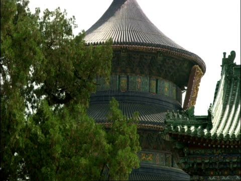 vidéos et rushes de tilt down from temple of heaven to entrance, beijing, china - temple du ciel