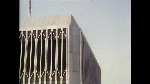 tilt down from the top of the north tower of the world trade centre and windows on the world restaurant to the ground below; 1980. - diminishing perspective stock videos & royalty-free footage