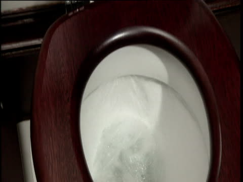 Tilt down from toilet lid to flushing water in toilet bowl