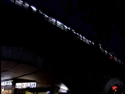 tilt down from train passing through bridge to bar inside bridge arch japan - 1991 stock videos and b-roll footage