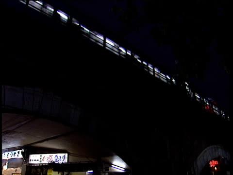 stockvideo's en b-roll-footage met tilt down from train passing through bridge to bar inside bridge arch japan - 1991