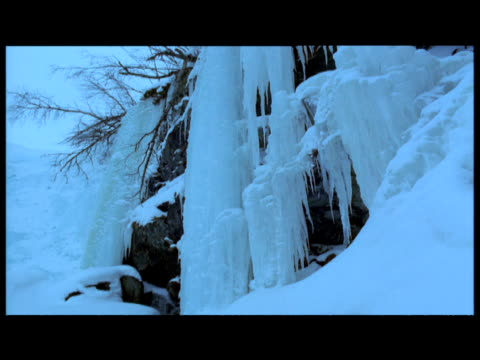 tilt down frozen waterfall, abisko, sweden - 2000s style stock videos and b-roll footage