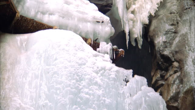 Tilt down frozen waterfall to icy rushing water below, Ouray, Colorado Available in HD.