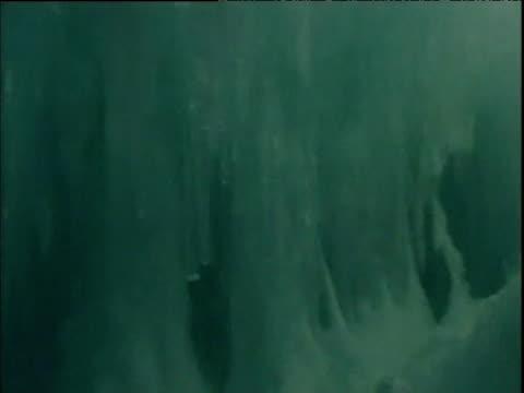 vídeos de stock, filmes e b-roll de tilt down icicles hanging inside cave antarctica 19 jan 06 - grotto cave