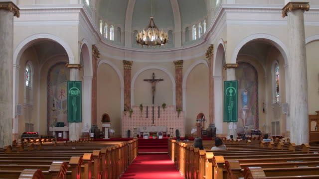 tilt down inside view of the 'holy name parish' located in danforth avenue seen on july 20, 2019; in toronto, ontario, canada. danforth avenue and... - local landmark stock videos & royalty-free footage
