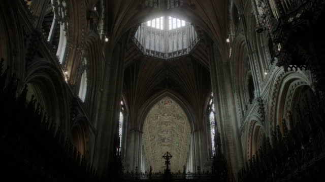 tilt down interior of ely cathedral - ornate stock videos & royalty-free footage