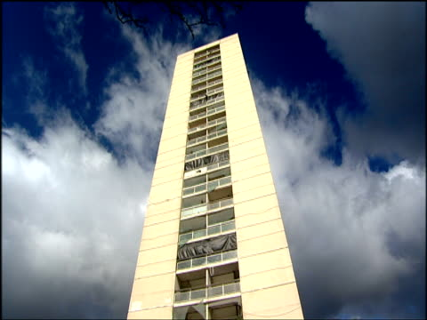 Tilt down Linosa Court tower being prepared for demolition Liverpool