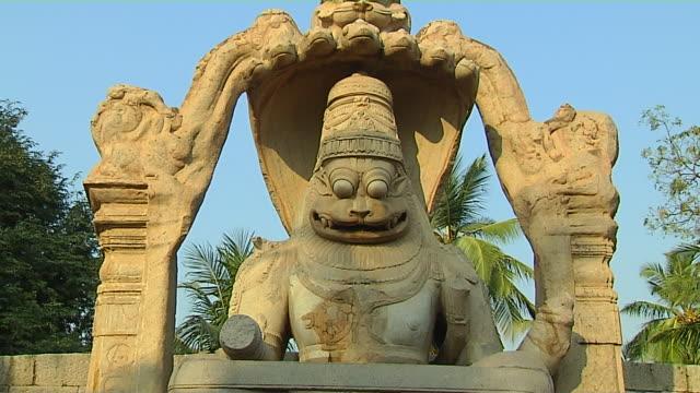 Tilt down lord narasimha hampi karnataka india