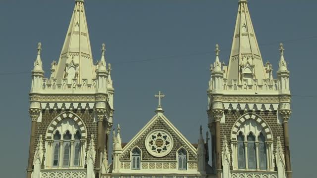 tilt down mount mary church mumbai maharashtra - history stock videos & royalty-free footage