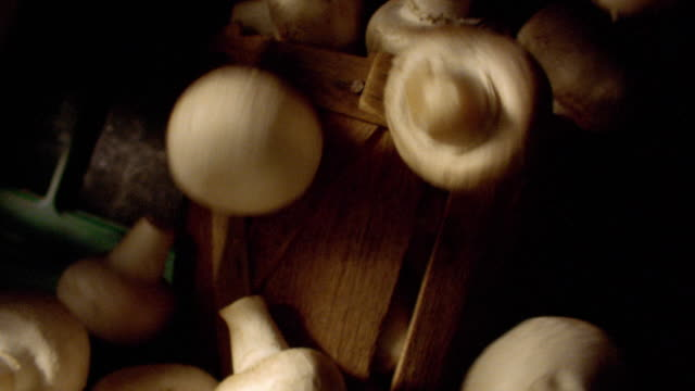 ms tilt down mushrooms falling on grey surface with basket of mushrooms in background - hinunter bewegen stock-videos und b-roll-filmmaterial