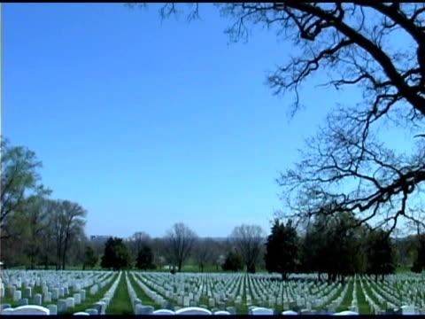 Tilt down on Arlington Cemetery, Washington DC