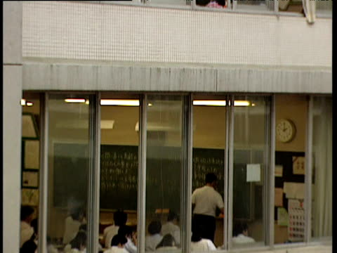 tilt down on exterior of school building - japanese school uniform stock videos & royalty-free footage
