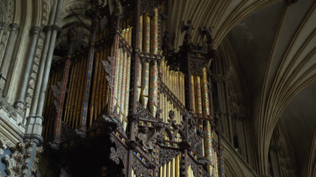 tilt down organ inside ely cathedral - carving craft product stock videos & royalty-free footage