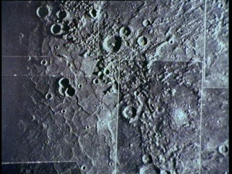 stockvideo's en b-roll-footage met tilt down over assembly of photographic stills of mercury - ruimte exploratie