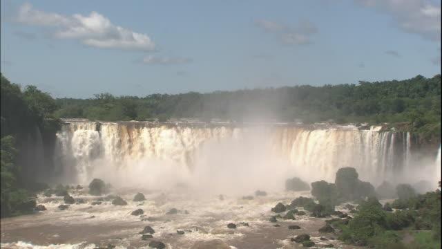 Tilt down over Iguazu Falls, border of Brazil and Argentina