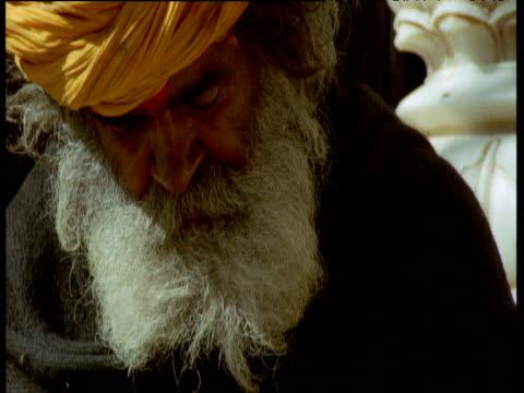 tilt down over man feeding black rats in temple, deshnok, india - cross legged stock videos & royalty-free footage