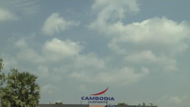 Tilt Down Reveal Shot Airport Complex Siem Reap Cambodia