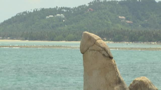 Tilt Down Reveal Shot Grand Pa Grand ma Rock Koh Samui Thailand