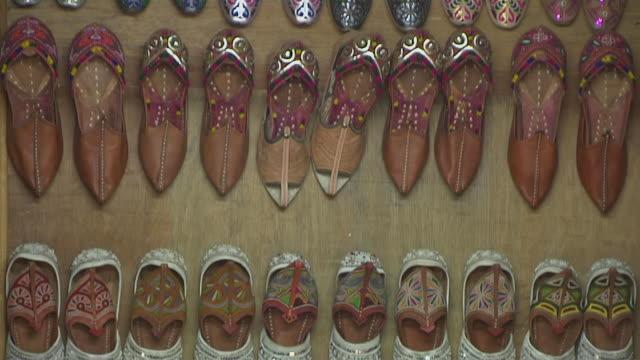 Tilt Down Shot Leather Shoes Jaisalmer Rajasthan India