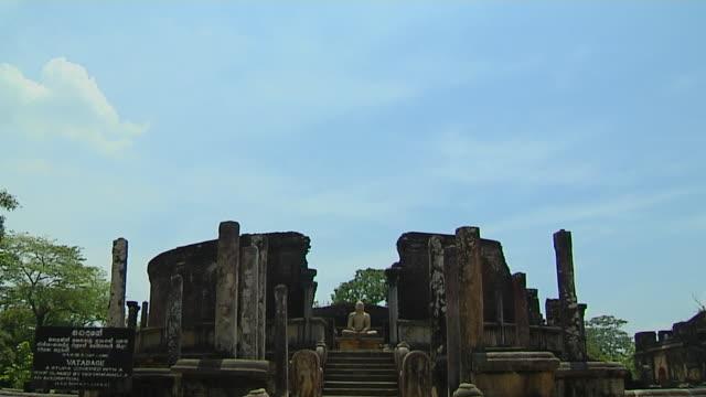 tilt down shot vatadage polonnaruwa north central province sri lanka - sri lankan culture stock videos & royalty-free footage