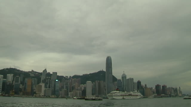 stockvideo's en b-roll-footage met tilt down skyline kwangtung hong kong china - tilt down