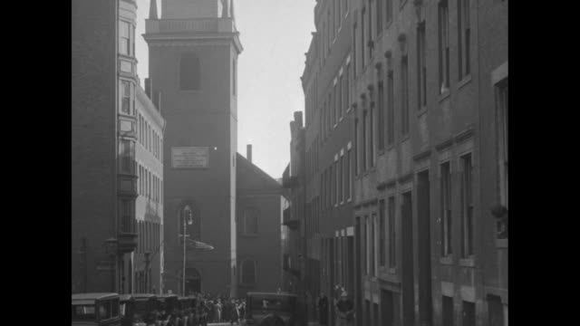 tilt down steeple of old north church / inside church gov alvan t fuller in preacher's robe climbing up steps to pulpit / overhead shot of fuller in... - old north church stock videos & royalty-free footage